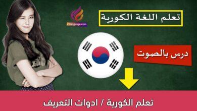 تعلم الكورية / ادوات التعريف