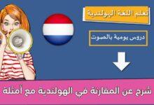 شرح عن المقارنة في الهولندية مع أمثلة